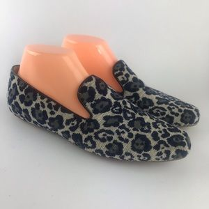 J. Crew Blue and Gray Leopard Loafers Size 8